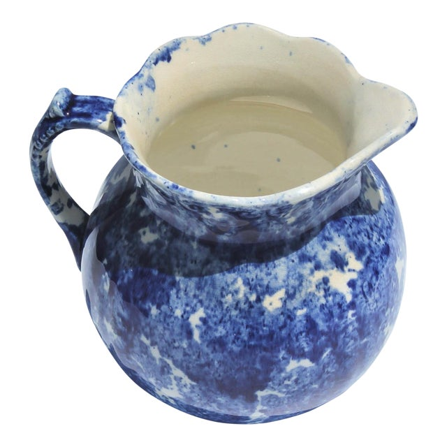 19th Century Sponge Ware Squatty Pottery Pitcher For Sale
