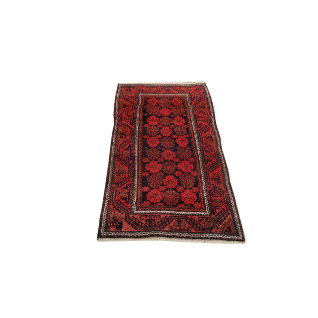 Vintage Traditional Baluch Hand Made Knotted Rug - 3′6″ × 6′2″ - Image 1 of 4