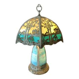 Turquoise and Light Yellow Ivorene Finish Art Glass Table Lamp