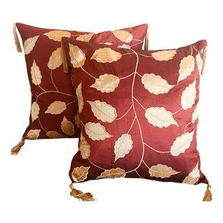Autumn Silk Accent Pillows - A Pair For Sale
