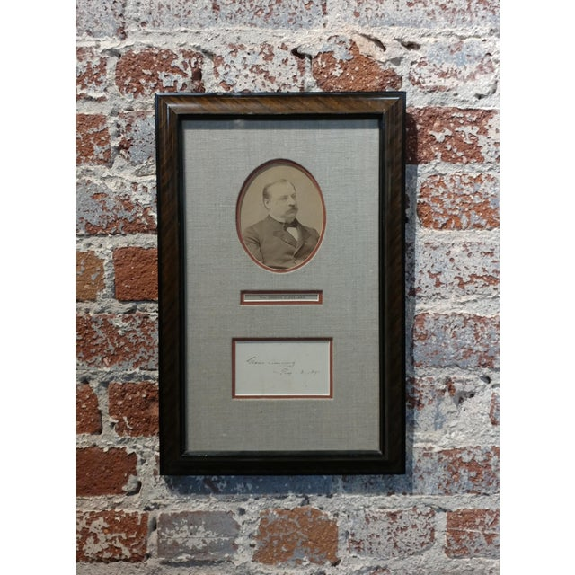 """Grover Cleveland -22nd & 24th US President - Original Signature with Photograph-1891 frame size 10 x 15"""" paper size 8 x..."""