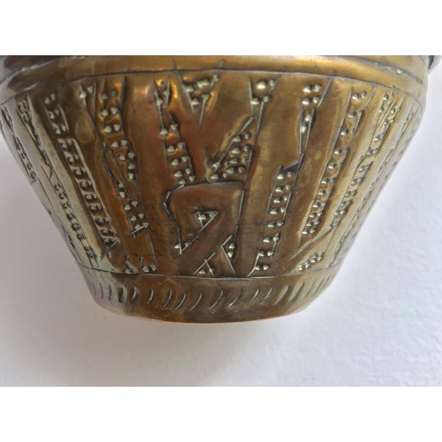 Middle Eastern Syrian Brass Bowl Hammered With Islamic Kufic Writing For Sale - Image 9 of 12