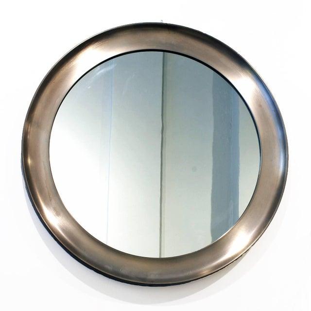"""Round """"Narciso"""" mirror, brushed aluminium frame. Original oxidation. Design: Sergio Mazza for Artemide Italy c. 1960"""