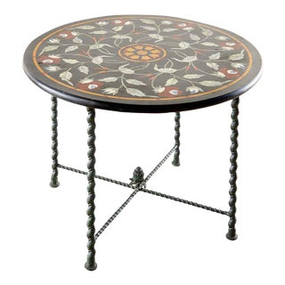 Italian Pietra Dura Marble Inlay Bronze Centre Table For Sale
