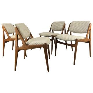 Solid Sculptural Teak Dining Chairs by Arne Vodder Denmark - Set of 4 For Sale