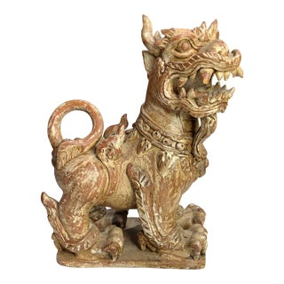 1990s Terracotta Indonesian Temple Foo Dog Statue For Sale