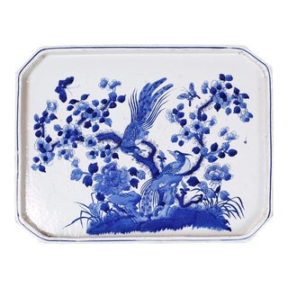 Blue and White Porcelain Tray For Sale