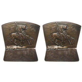 Bronze and Cast Iron End of the Run Indian Bookends For Sale