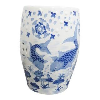 Chinese Porcelain Koi Fish Garden Stool For Sale