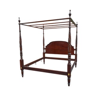 Stickley Colonial Williamsburg King Size Acanthus Carved Poster Bed W/ Canopy