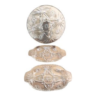Early American Prescut Star of David Glassware - 3 Pieces For Sale
