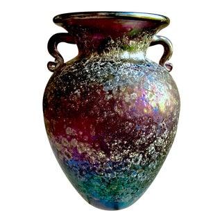 Cenedese Mid-Century Scavo Corroso Syle Purple Iridescent Murano Vase For Sale