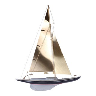 Brass Racing Sail Boat Wall Mount Sculpture For Sale