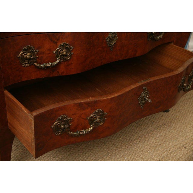 Red Antique Louis XV Chest of Drawers With Verona Marble Top For Sale - Image 8 of 10