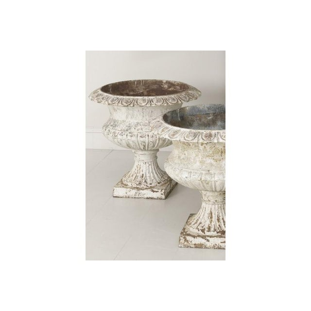 French Large Pair of 19th Century French Cast Iron Urns For Sale - Image 3 of 10