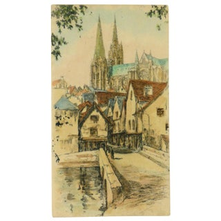Antique Aquatint Etching - Rue De La Porte Guillaume and the Chartes Cathedral , C. 1900