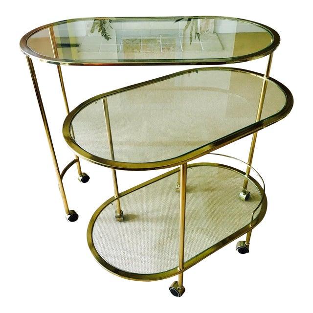 Mid Century Bar Cart Brass Swivel Triple Tiered - Image 1 of 11