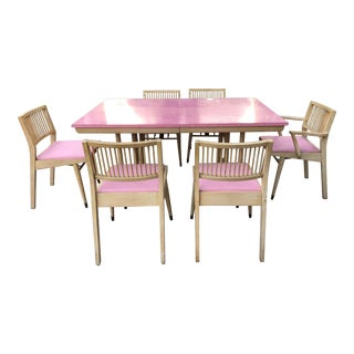 1950s Mid-Century Modern Pink Dining Set - 7 Pieces For Sale