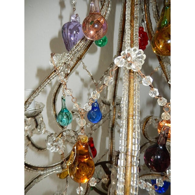 Baroque Italian Beaded Murano Colorful Fruit Chandelier, 1920 For Sale - Image 3 of 12