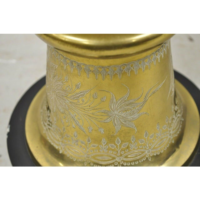 Vintage Brass Indian Moroccan Boho Chic Etched Brass Side Table Pole Floor Lamp For Sale In Philadelphia - Image 6 of 13