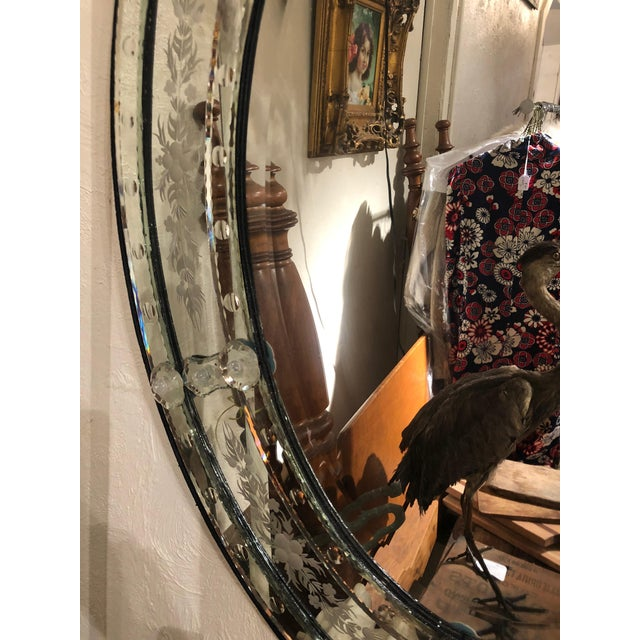 Venetian Style Etched Oval Mirror For Sale In Philadelphia - Image 6 of 11