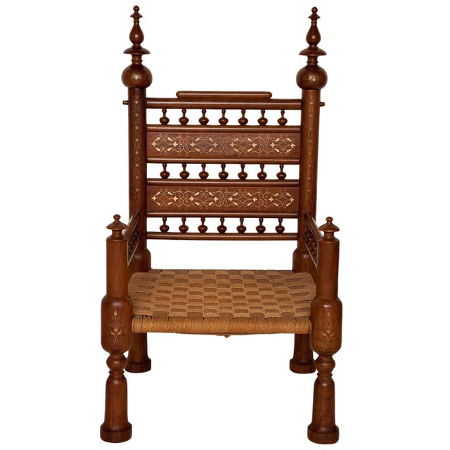 Moorish Syrian Brass Inlaid Chair For Sale - Image 11 of 11
