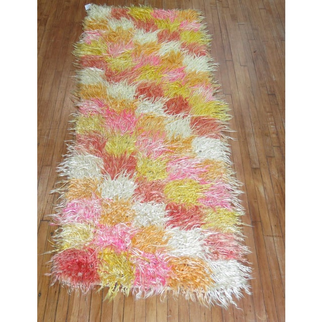 Hand-woven rare size one of a kind Turkish Tulu Shag runner woven in the middle part of the 20th century.