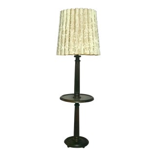 Early 20th Century Solid Wood French Floor Lamp With Attached Table and Shade For Sale
