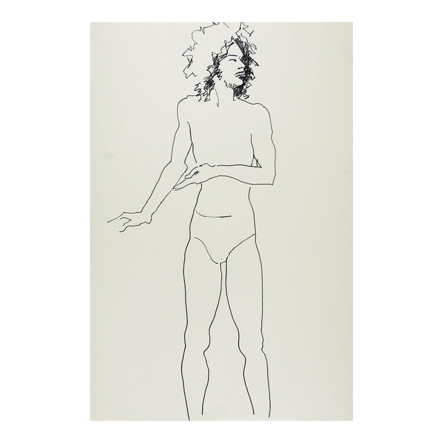 Vintage Pen & Ink Drawing Study Male For Sale