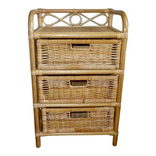 Mid-Century Vintage Wicker Rattan Bamboo Small Chest of Drawers For Sale