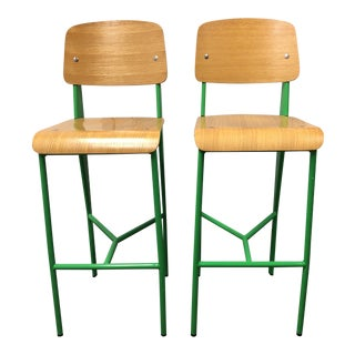Wood + Green Metal Barstools - a Pair For Sale