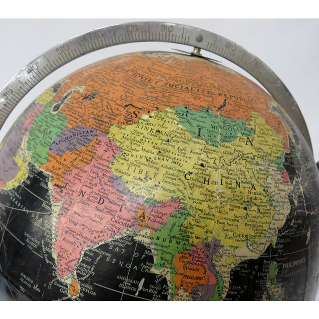 "Replogle Globes Replogle 12"" Black Globe on Chrome Stand 1940s or 50s For Sale - Image 4 of 7"
