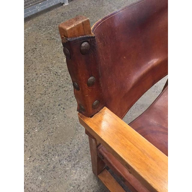 Brown Vintage Spanish Baroque Leather Armchair For Sale - Image 8 of 9