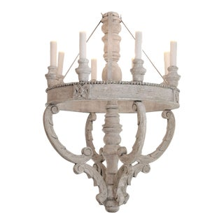 Painted Wooden Chandelier For Sale