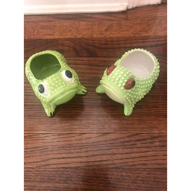 Small Green Frog Planters - A Pair | Chairish