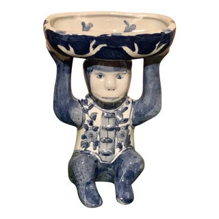 Chinoiserie Blue and White Monkey Trinket Dish For Sale