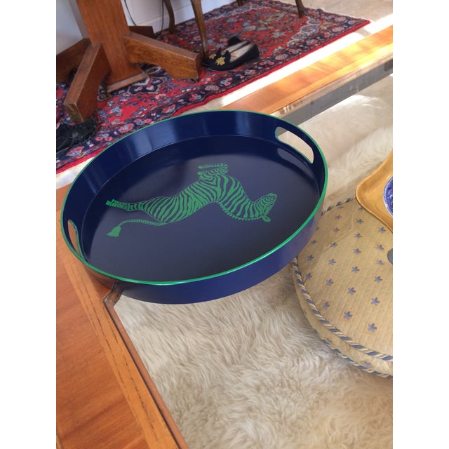 Zebra Scalamandre Inspired Navy and Green Tray For Sale In Denver - Image 6 of 11