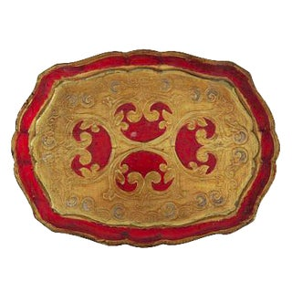 Vintage Florentine Italy Italian Red and Gold Wood Tray