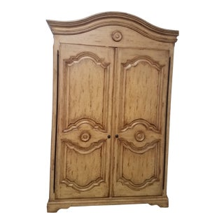 Woodland Furniture French Country Distressed Armoire For Sale