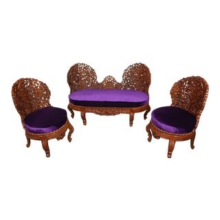 Vintage Mid Century Anglo-Raj Settee and Side Chairs- Set of 3 For Sale
