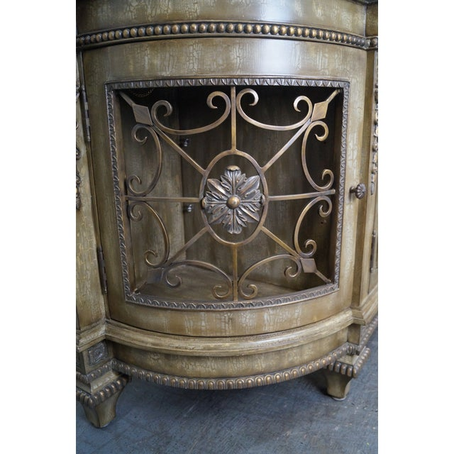 Faux Painted French Style Marble-Top Sideboard with Iron Doors - Image 10 of 10