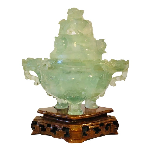 19th Century Chinese Carved Quartz on Base For Sale