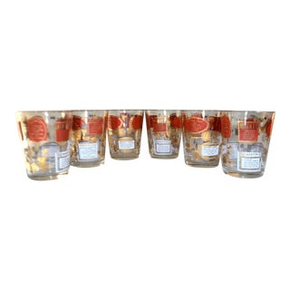 Mid-Century Modern Old Fashioned Red & Gold W/ Recipes Cocktail Glasses - Set of 6 For Sale