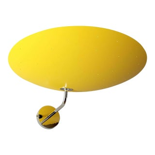 Pierre Disderot Model #2059 Large Perforated Wall Lamp in Yellow & Chrome For Sale