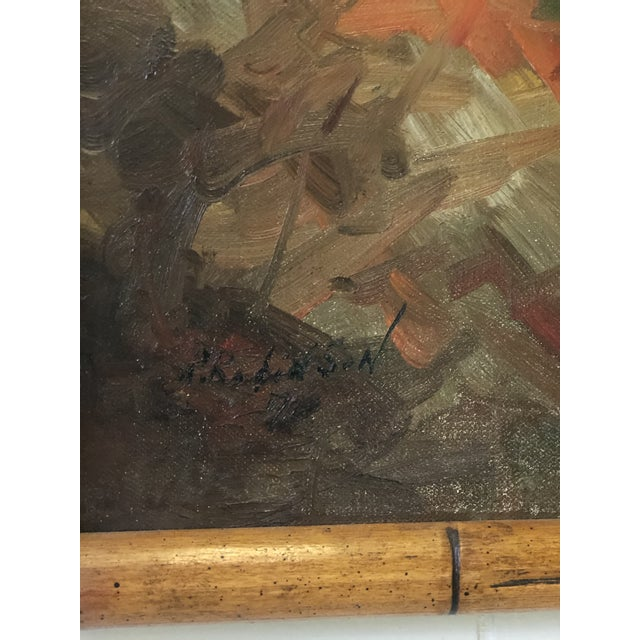 Canvas Vintage Impressionistic Campfire Painting For Sale - Image 7 of 9