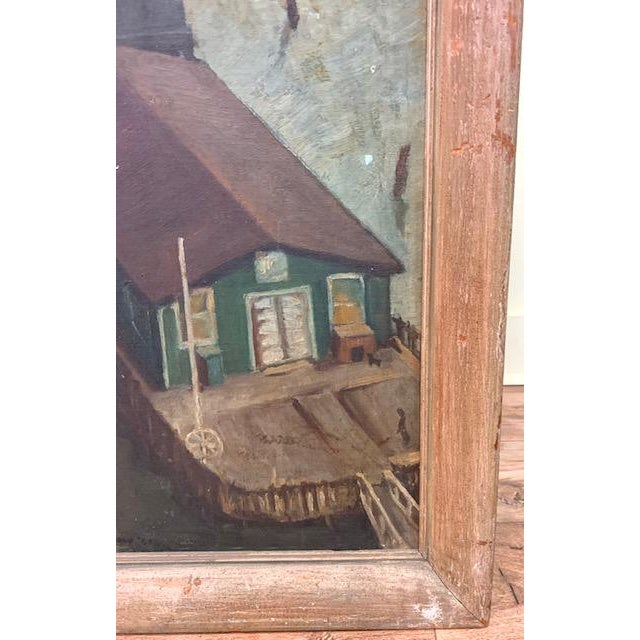 Oil Paint Wpa Era 1940 Oil Painting - Houseboat - Signed For Sale - Image 7 of 9