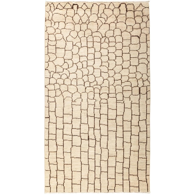 "New Moroccan Hand Knotted Area Rug - 4' 7'1"" For Sale"