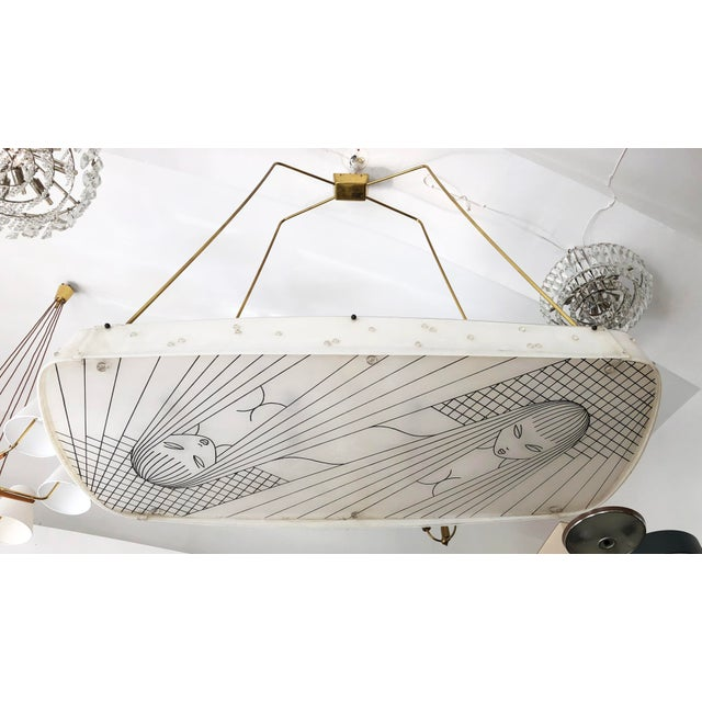 Beautiful Midcentury Chandelier With Handmade Shades For Sale - Image 12 of 12