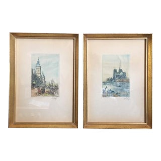 "1930s Signed ""Notre Dame and Marche Aux Fleurs"" Color Etchings by French Artist Lucien Veder (Aka LeGarf) - a Pair For Sale"