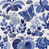 Image of Sample - Schumacher Exotic Butterfly Luxe Wallpaper in Marine Blue For Sale